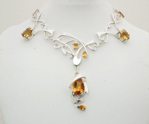 Custom made silver & Citrine necklace