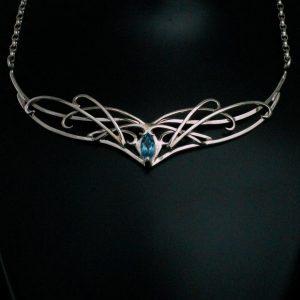 silver blue topaz necklace