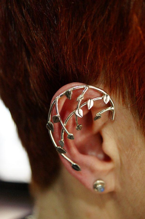 silver ear cuff leaves