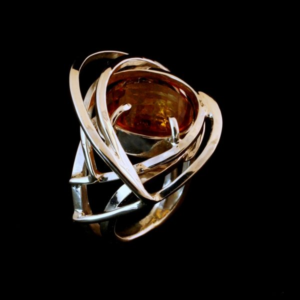 Silver Swirls Citrine Ring
