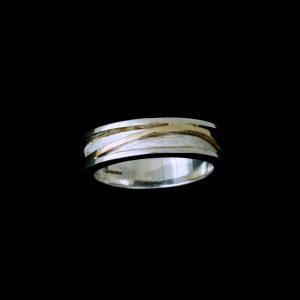 Men's designer Silver & Gold Wedding ring