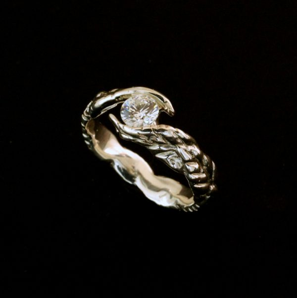 Handmade Women's Solitaire Leaves Ring